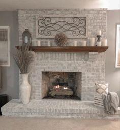 Brick Fireplace Decor, White Wash Brick Fireplace, Living Room Decor Fireplace, Painted Brick Fireplaces, Paint Fireplace, Brick Fireplace Makeover, Farmhouse Fireplace, Home Fireplace, Fireplace Design