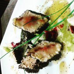 #tataki di spada in crosta di semi di papavero # con riduzione all arancio # giusefarris #arcadia lounge restaurant pub # by giusefarris