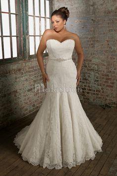 Robe de Mariée en Grandes Tailles de Traîne Mi-longue Avec Nœud à Boucles Appliques