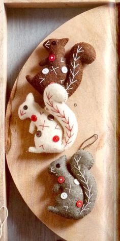Dotty Squirrel Ornaments - These amusing and eccentric wool felt ornaments draw their inspiration from mid-century modern textile design. Made from wool felt, with hanging strings and whipstitched edging in complimentary colors. Dotty Squirrel features sequin eyes, button dot and contrasting embroidered details, in three colors.: