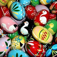 Polish art center wooden easter eggs