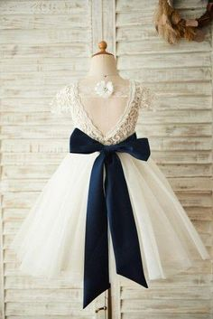 7f54a299741 Short Sleeves V Back Lace Tulle Wedding Flower Girl Dress with Navy Bl