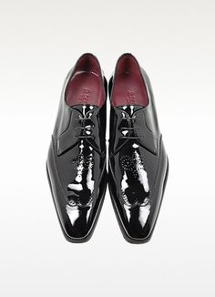 Black Tender Patent Leather Wingtip Derby Shoe - A.Testoni