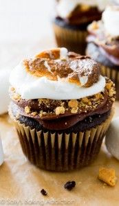 Marshmallow-Filled S'mores Cupcakes.