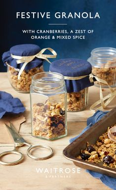 Lightly spiced and full of festive flavours, this crunchy granola mix can be enjoyed all year round. Reuse old jam jars to decant the granola to share with friends and family at Christmas. Tap for the full Waitrose & Partners recipe. Christmas Jam, Christmas Food Gifts, Xmas Food, Christmas Breakfast, Christmas Cooking, Christmas Hamper, Waitrose Christmas, Waitrose Food, Food Festival