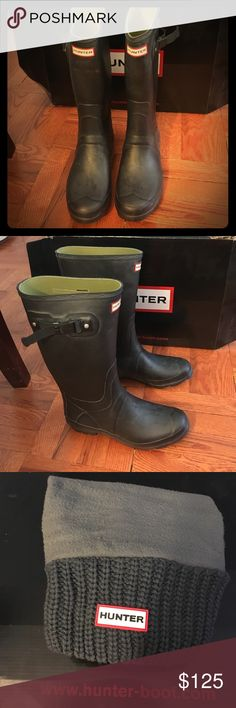 Huntress Boots Women's Huntress Black Matte Boots size 10. Barely worn. No damage. Come with a free pair of grey socks! Also come with original hunter box! Hunter Boots Shoes Winter & Rain Boots