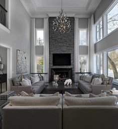Mix up the greys High Ceiling Living Room, Living Room Lighting, Elegant Living Room, Living Room Grey, Modern Living, Living Rooms, Living Spaces, Living Room Decor Colors, Living Room Designs