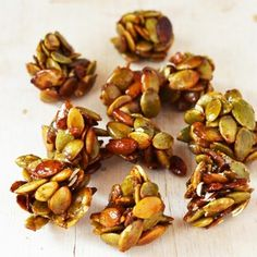 """I'm so happy October is here, Autumn is in full swing! And here is my new favourite seasonal snack: little clusters of pumpkin seeds with a vanilla & honey coating. I wasn't sure whether to call these """"Pumpkin Seed Clusters"""" or """"Autumn Brittle Bites"""" What do you think? I don't think they're hard enough to... Read More »"""