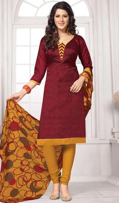 Enshroud yourself in a plethora of eternal euphoria with this red and orange color cotton churidar dress. It has been beautifully designed with lace and resham work. #printedcottondupattadress #cottinprintedsuit   #churidardresses