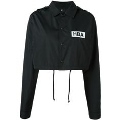 Hood By Air Logo Print Cropped Jacket featuring polyvore, women's fashion, clothing, outerwear, jackets, tops, shirts, black, hood by air, cropped jacket, cotton jacket and cropped cotton jacket
