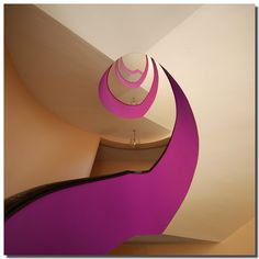 pink-painted stairs
