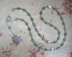 Danu Prayer Beads in Moss Agate: Irish Celtic Mother Goddess by HearthfireHandworks on Etsy