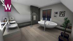 Zeer ruime luxe afgewerkte badkamer, met dubbele wastafel, vrijstaand bad en grote inloopdouche Showroom, Bathtub, Bathroom, Lush, Standing Bath, Washroom, Bathtubs, Bath Tube, Full Bath