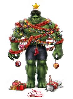 Hulk out for the holiday! Christmas Comics, Christmas Scenes, Christmas Art, Deadpool Christmas, Christmas Cartoons, Christmas Humor, Christmas Ideas, Marvel Heroes, Marvel Dc