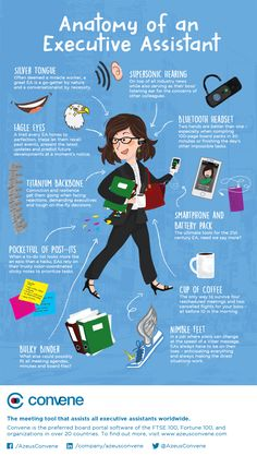 Share this with your favorite assistant. Anatomy of an executive assistant inforgraphic by Azeus Convene