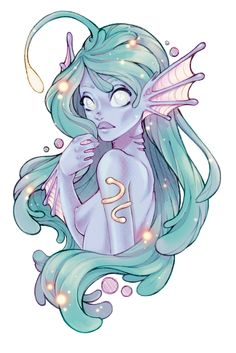 Glowy mermaid by Konoko-Yoyo-Tsuke on DeviantArt Cute Mermaid, Mermaid Art, Fantasy Kunst, Fantasy Art, Anime Kunst, Anime Art, Fantasy Creatures, Mythical Creatures, Anime Comics