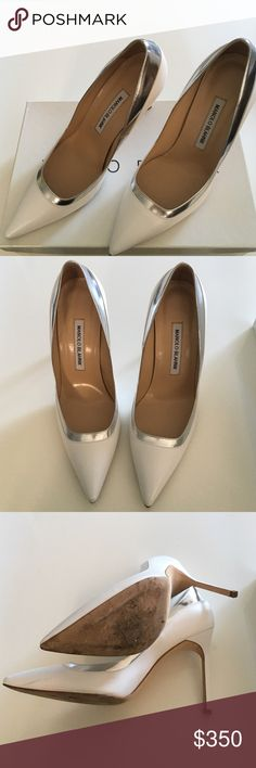 Manolo Blahnik M-Pretati Capretto Bianco Manolo Blank M-Pretati Capretto Bianco (White/Silver). Very good condition; Scuffs on soles as visible in picture. Sold with original box and dust bag. Manolo Blahnik Shoes Heels