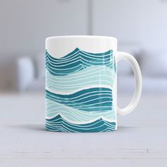 Illustrated Waves Ceramic Mug from Grow Up Awesome