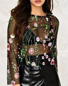 Long sleeve perspective t shirt with embroidery flower pattern mesh top for  ladies