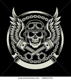 Vintage Biker Skull with Wings and Pistons Emblem