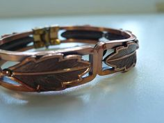 Vintage Copper by Bell Hinged Leaf Bracelet