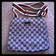 Authentic Gucci crossbody bag Authentic Gucci crossbody, had it for years, just don't use it anymore. Good used condition, adjustable straps and zipper enclosed. Dimension 9 x 8 comes with dust bag Bags Crossbody Bags
