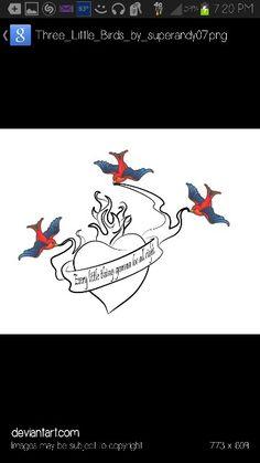 Love this tattoo design! #threelittlebirds #bobmarley