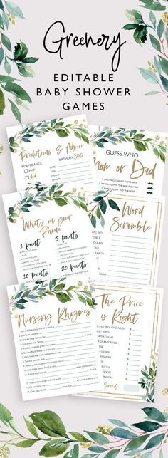 Editable rustic greenery baby shower game bundle, greenery baby shower games, rustic baby shower games, editable game - New Deko Sites Baby Shower Verde, Otoño Baby Shower, Fiesta Baby Shower, Shower Bebe, Fun Baby Shower Games, Baby Shower Winter, Baby Shower Favors, Baby Shower Parties, Baby Shower Themes