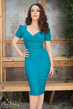 Pinup Couture Erin Wiggle Dress in Short Sleeves in Jade $98 at pinupgirlclothing.com