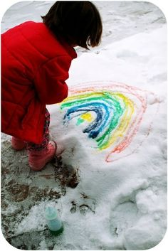 Snowy day activity: Fill bottles with food coloring and water; go outside and paint. We are doing this,if it snows again here in Texas