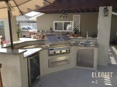 Not extravagant. Small Outdoor Kitchens, Outdoor Kitchen Bars, Outdoor Spaces, Outdoor Living, Bbq Area, Grill Area, Bbq Island, Kitchen Island, Deck With Pergola