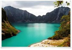 Mount Pinatubo, an active stratovolcano on the island of Luzon near the Philippine provinces of Zambales, Tarlac, and Pampanga.