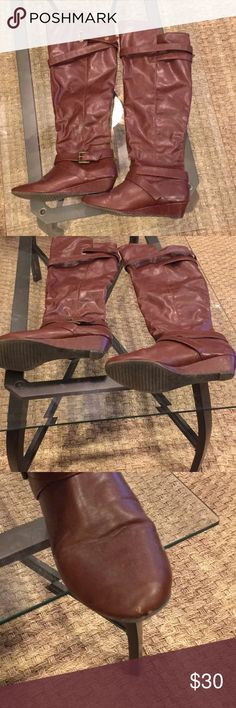 Madden Girl Knee high riding boots Gently worn riding boots  Hits just above my knee (I'm 5'7) Size 10 Small knick at toe and heel as seen in pictures otherwise good condition Madden Girl Shoes Over the Knee Boots