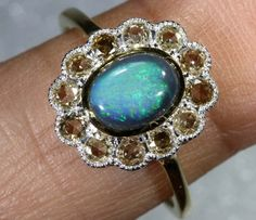 11.80CTS SOLID OPAL DIAMOND AND GOLD ART DECO RING OF-1929