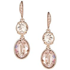 Givenchy Glitz Double Drop Earrings, Rose Goldtone (63 CAD) ❤ liked on Polyvore featuring jewelry, earrings, rose gold, pink gold earrings, golden earring, rose jewellery, drop earrings and clear crystal earrings