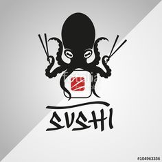 "Vector logo design. Sushi, octopus, japanese, restaurant."" Stock ..."