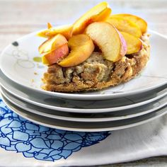Use up stale or leftover bread by making this recipe for Peach Baked French Toast. To make this baked French toast recipe, bread is combined with cinnamon and custard made from heavy cream, milk, and eggs. Baked French Toast Casserole, French Toast Bake, Spicy Honey, Sweet And Spicy, Breakfast Toast, Breakfast Casserole, Brunch Recipes, Breakfast Recipes, Brunch Dishes