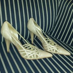 "BCBGirls Beige Leather Heels W/Cutouts Size 7.5 These are in excellent used condition. Size 7.5. Leather upper. They are gorgeous!!! ""FIRM PRICE"" BCBGirls Shoes Heels"