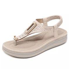 60228391fd5 TIMETANGSummer Platform Flip Flops Women Solid Color Beach Sandals Soft  Leather Comfortable Low Heels Flats Shoes
