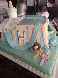 Diaper bag cake for boy