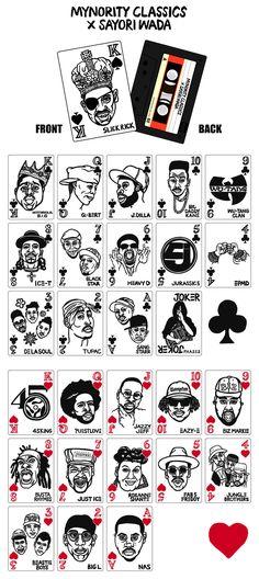 ilustradora Sayori Wada. Cada carta vem com um ícone do hip-hop diferente e todas foram desenhadasusando pincéis japoneses. Esse sim tem style pra colocar um royalstraight flush na mesa.