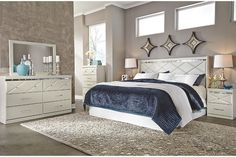 white dresser paired with modern champagne white faux leather king headboard also fits California king bed frame
