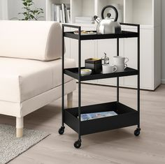 This utility cart fits in the smallest of spaces and can be moved to wherever you need it. Use it as extra storage for all your kitchen utensils, desk accessories or for gloves, keys and mobile phones. Bathroom Cart, Bathroom Storage, Extra Storage Space, Storage Spaces, Kitchen Island Trolley, Kitchen Islands, Kitchen Carts, Kitchen Utility Cart, Modern Interior Design