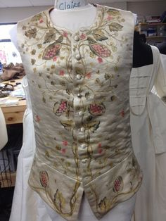 Claire's vest as the Sassenach in The Search. The fabric is painted. Great work Terry Dresbach!