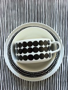 marimekko in black and white noir et blanc ceramics Valentines Day Party, Black White Stripes, Textures Patterns, Mixing Patterns, Scandinavian Design, Cup And Saucer, Hygge, Pottery, My Favorite Things