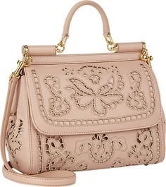Dolce & Gabbana Cutwork-blush floral Embroidered calf-skin Miss Sicily Bag - - Barneys.com