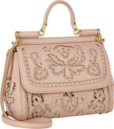 Dolce & Gabbana Cutwork-blush floral Embroidered calf-skin Miss Sicily Bag - - Barneys.com