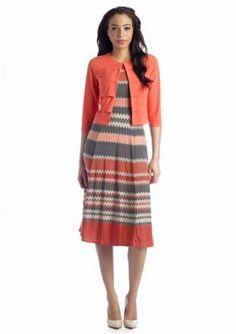 Danny  Nicole  Chevron Printed Jacket Dress