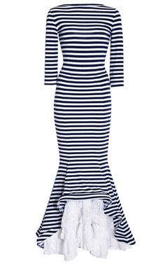 This navy blue and white striped jersey floor length Natasha Zinko dress features a high wide neck with a deep scoop at the back, three-quarter-length sleeves and a stepped trumpet skirt with solid eyelet ruffle underlay at the front.Hidden zip back closureCottonUnlinedMade in UKPlease note: This item is returnable for credit or full refund.