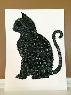 This adorable made to order black cat silhouette will be made from black buttons and beads. It is crafted on watercolor paper which is more sturdy than cardstock. This paper doesnt absorb the glue and allows the glue to bond the buttons and beads tightly to the paper. The paper size is 8x 10. This cat will be ready to matte and frame. He is the purrfect gift for the cat lover in your life or for the babys nursery. Turnaround time from order to ship is generally just a couple of days but…